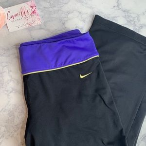 Women's Black & Purple Cropped Nike Yoga Pants